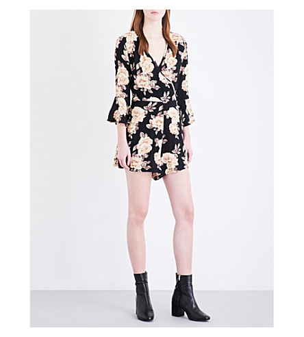 TOPSHOP Dark Blossom crepe wrap playsuit (Multi