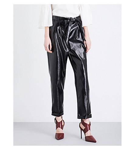TOPSHOP Cracked vinyl peg trousers (Black