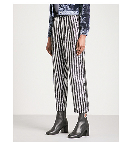 TOPSHOP Sequinned wide high-rise trousers