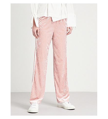 TOPSHOP Striped-side velvet jogging bottoms (Pink