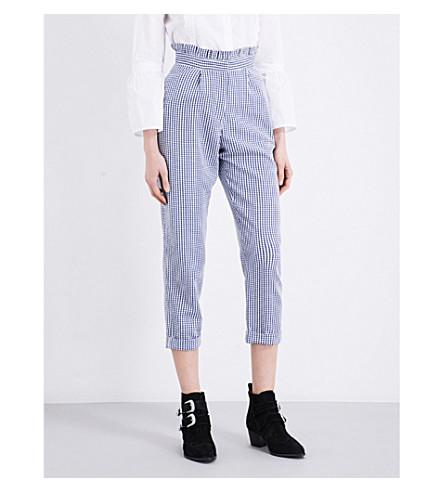 TOPSHOP Gingham seersucker pants (Blue