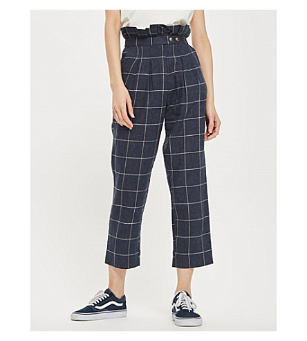 TOPSHOP Windowpane-check woven trousers (Navy+blue