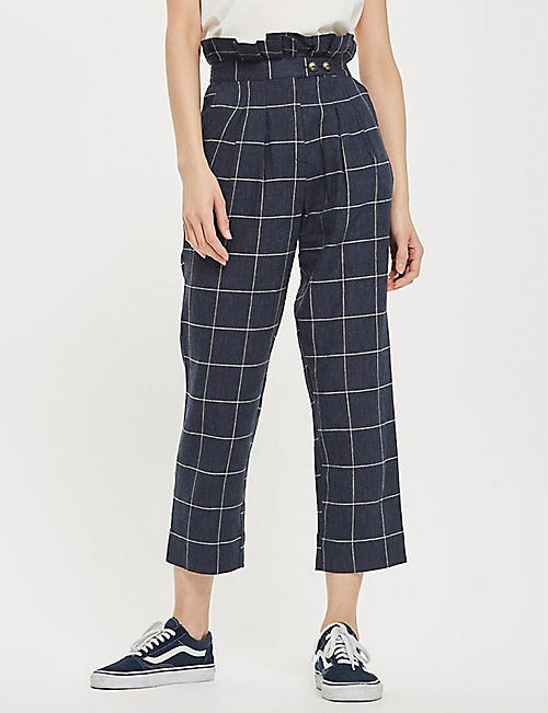 TOPSHOP Windowpane-check woven pants