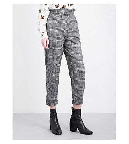 TOPSHOP Ruffle Check Mensy tapered crepe trousers (Multi