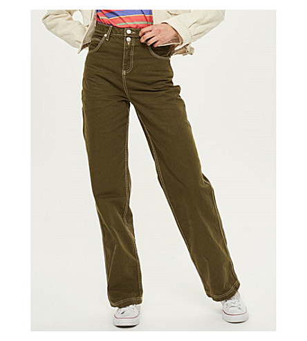 TOPSHOP Taylor cargo-pocket cotton trousers (Dark+green