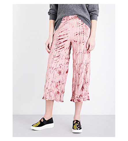 TOPSHOP Wide-leg crushed-velvet trousers (Rose