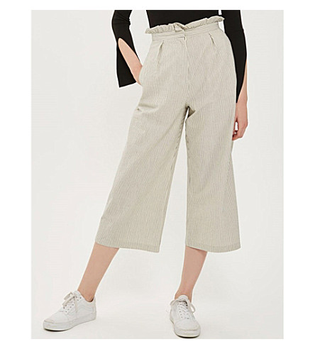 TOPSHOP Ruffle stripe cotton-blend trousers (Cream