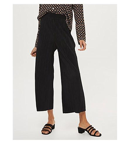 TOPSHOP Plissé jersey trousers (Black