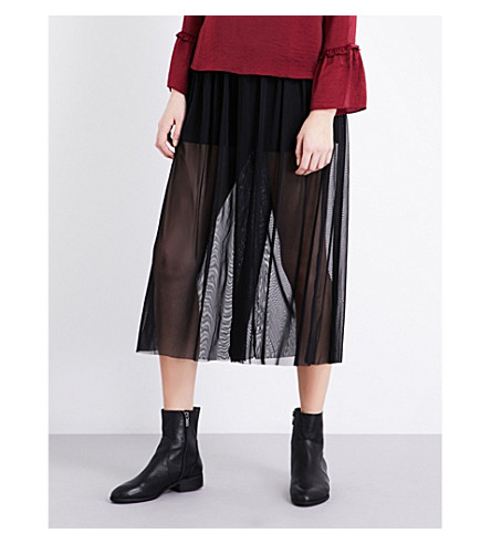 TOPSHOP Wide-leg tulle trousers (Black