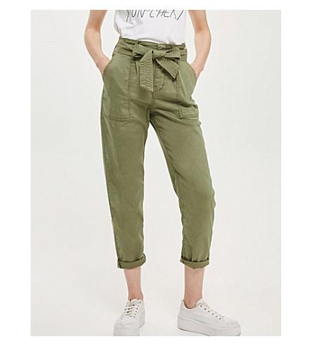 TOPSHOP Paperbag woven utility trousers (Khaki