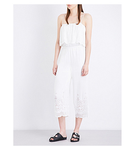 TOPSHOP Broderie anglaise cotton jumpsuit (White
