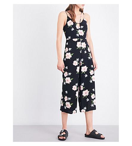 TOPSHOP Floral-print crepe jumpsuit (Black