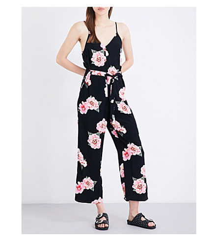TOPSHOP Kula floral-print woven jumpsuit (Black