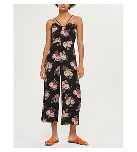 TOPSHOP Scatter Floral crepe jumpsuit (Black
