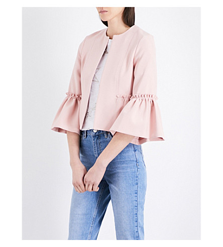 TOPSHOP Cropped frilled woven jacket (Blush