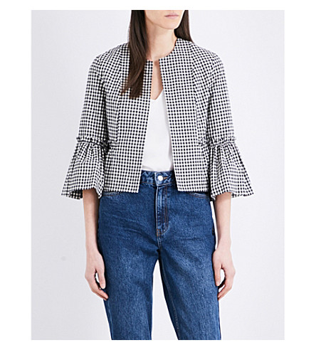 TOPSHOP Gingham cropped stretch-cotton jacket