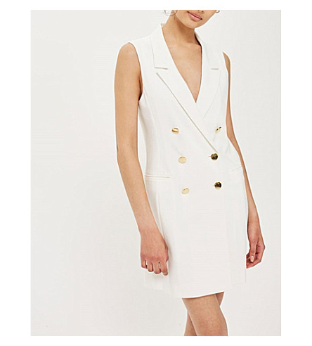 TOPSHOP Double-breasted blazer dress (Ivory