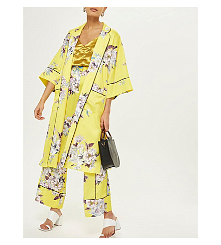 Kimono pájaros de estampado flores con TOPSHOP con Amarillo de estampado Amarillo xTI7BI