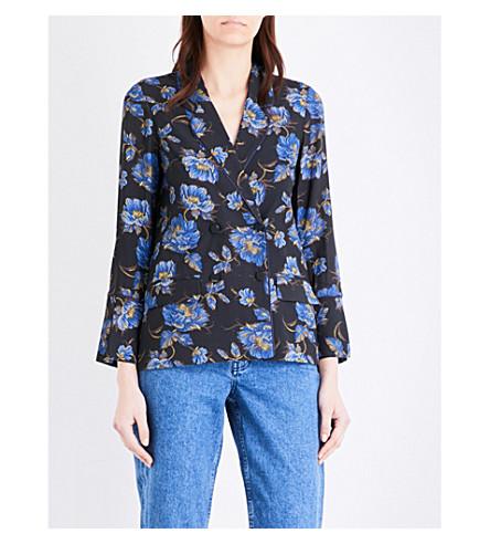 TOPSHOP Floral Pyjama crepe jacket (Blue