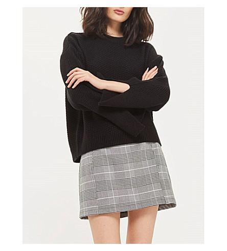TOPSHOP Moss-stitch split-cuff jumper (Black