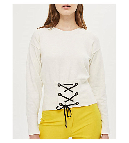 TOPSHOP Corset-detail knitted sweatshirt (Cream