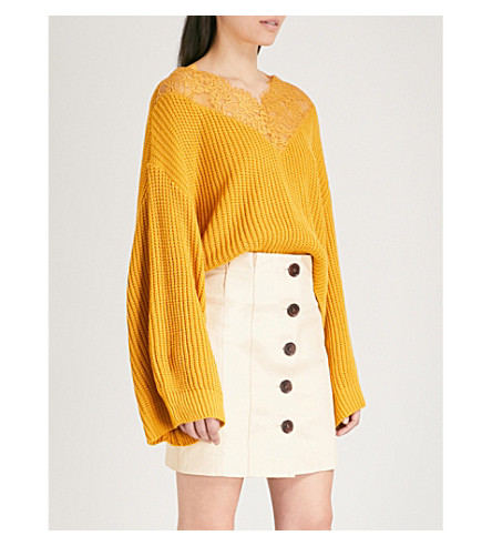 TOPSHOP Lace-panelled chunky-knit jumper (Mustard