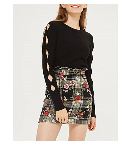 TOPSHOP Bow sleeve knitted jumper (Black
