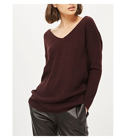 TOPSHOP Twist wool-blend jumper (Berry+red