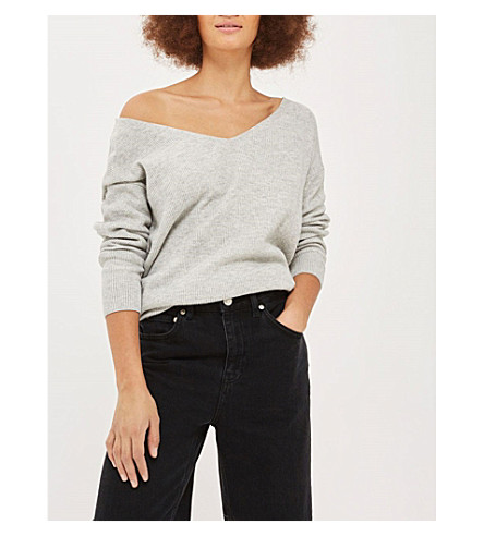 TOPSHOP Twist-back off-the-shoulder knitted jumper (Grey
