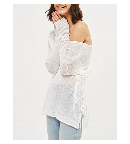 TOPSHOP Lattice side knitted jumper (Ivory