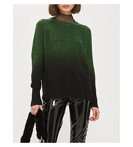 TOPSHOP Dip-dye knitted jumper (Green