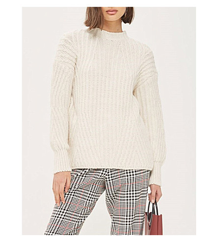 TOPSHOP Deflected knitted jumper (Ivory