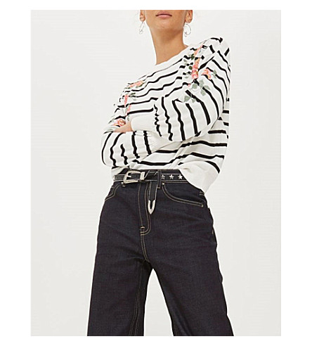 TOPSHOP Flower-embroidered striped cotton jumper (Ivory