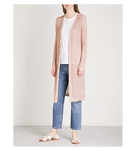 TOPSHOP Ribbed metallic-knit cardigan (Rose