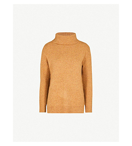 TOPSHOP Funnel-neck knitted jumper (Ochre
