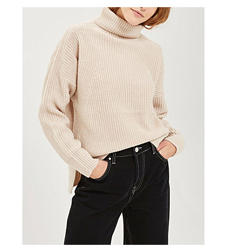 TOPSHOP Roll-neck ribbed-knit jumper (Oatmeal
