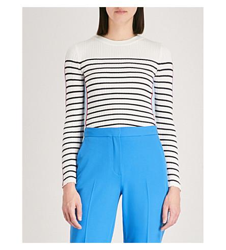 TOPSHOP Striped cotton-blend top (Ecru