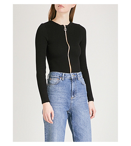 TOPSHOP Zipped knitted cardigan (Black
