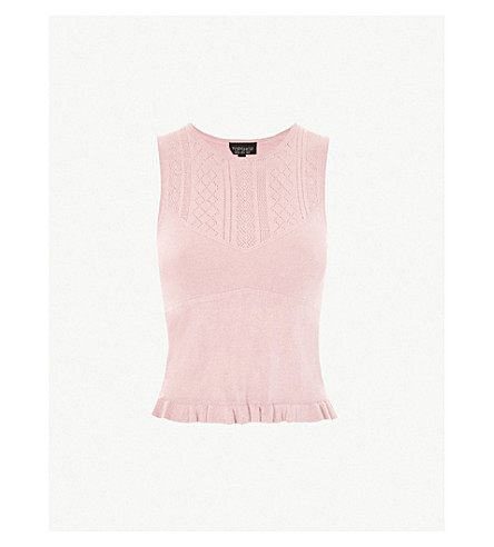 TOPSHOP Pointelle-detailed knitted top (Pink
