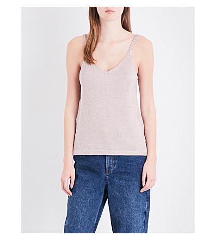 TOPSHOP V-neck metallic-knit camisole (Mink