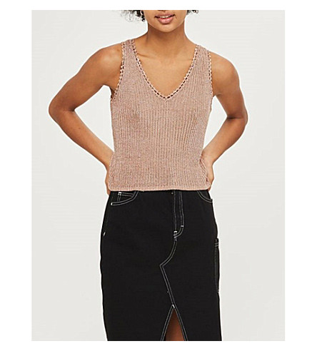 TOPSHOP Ribbed knitted top (Rose+gold