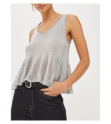 TOPSHOP Metal-yarn peplum knitted top (Silver