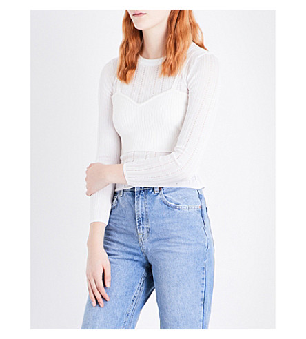 TOPSHOP Layered ribbed and pointelle-knitted top (Ivory