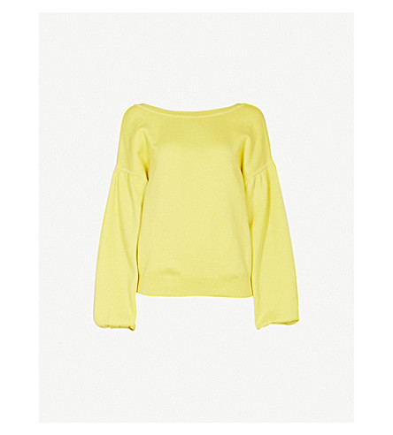 TOPSHOP Balloon sleeve cotton jumper (Yellow