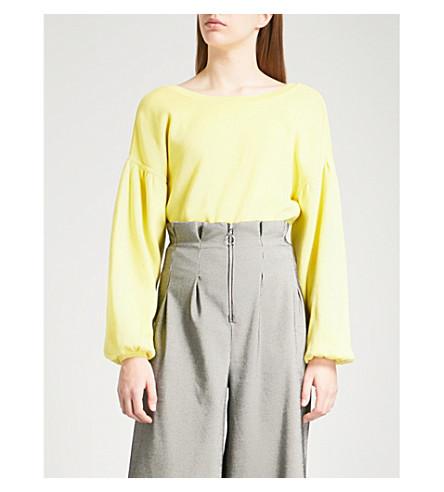 TOPSHOP Balloon sleeve cotton jumper (Yellow