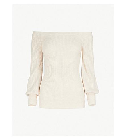 TOPSHOP Off-the-shoulder knitted jumper (Oatmeal
