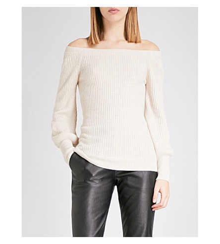 TOPSHOP Off-the-shoulder knitted jumper (Oatmeal