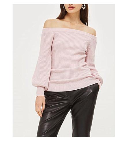 TOPSHOP Ribbed-knit Bardot jumper (Pink