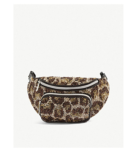 TOPSHOP Leopard-print beaded bumbag (Multi
