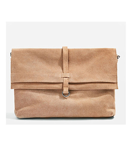 TOPSHOP Suede leather cross-body bag (Sand